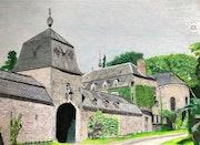 Ferme-Château-Eglise du village de Jenneret.. Πr Dessins