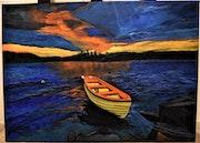 Paysage a la mer de swede, peinture tableau par joky kamo.