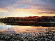 Winter sunset over reservoir, Yorkshire.