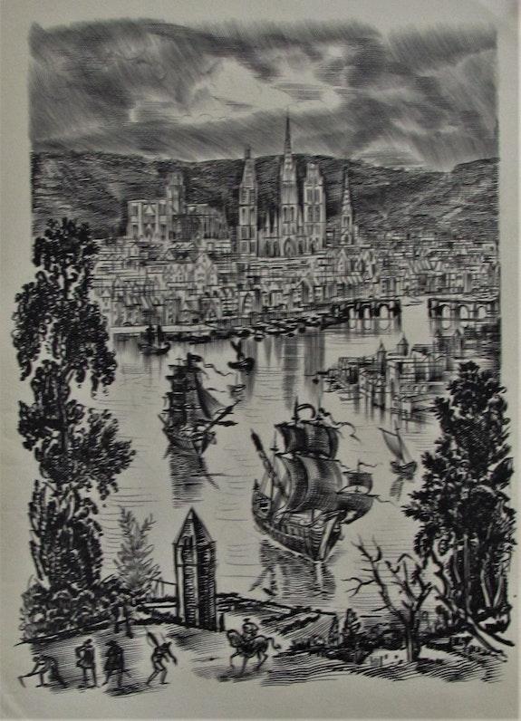 Albert. Decaris (1901-1988) : Vision historicisante de (? ) Rouen ?. Albert. Decaris (1901-1988) Historien d'art, Archéologue; Chercheur Free-L.