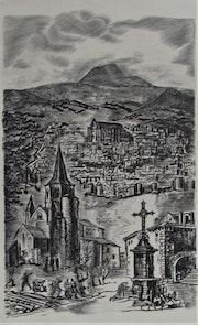 Albert. Decaris : Vision historicisante d'une ville (des basses Alpes ? )..
