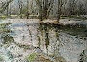 Calme et plénitude au bord de la rivière. André Farnier