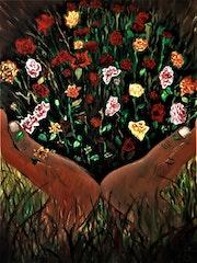 Bouquet de fleurs aux mains, peinture par joky kamo. Joky Kamo