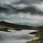 Lago nublado, óleo sobre papel. Demonio - Yolanda Molina Brañas