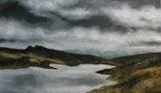 Lago nublado, óleo sobre papel.