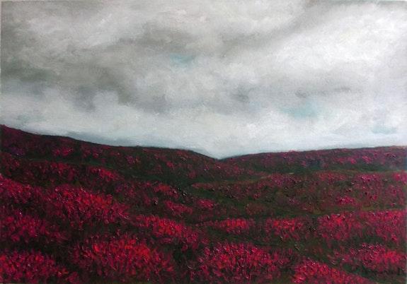 Campo de brezo, óleo sobre papel.  Demonio - Yolanda Molina Brañas