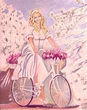 Jeune femme à vélo.
