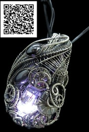Rainbow Nixie Tube Necklac with Upcycled Electronic and Watch Parts, Steampunk/C. Heather Jordan Jewelry