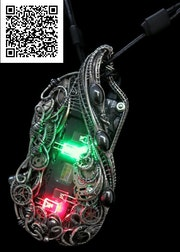Iridescent Chip Steampunk/Cyberpunk Fusion Necklace with Upcycled Watch Parts &. Heather Jordan Jewelry