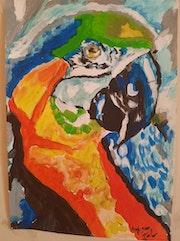 Ma peinture acrylique un perroquet. Jean-Louis Majerus