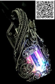 Rainbow U-Flashbulb Necklace with Upcycled Electronic and Watch Parts, Steampunk.