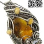 Baltic Amber Pendant with Mosquito, Leaf Fragment and Insect Wing and Ethiopian. Heather Jordan Jewelry