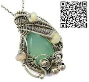 Aqua Chalcedony Pendant with Ethiopian Welo Opals. Heather Jordan Jewelry