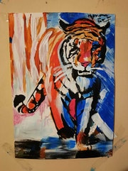 Un tigre fait a la acrylique. Jean-Louis Majerus