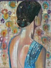 Femme de dos a la robe turquoise. Nathalie Vareille Sorbac