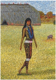 Native indian from south american xingu park Painting.