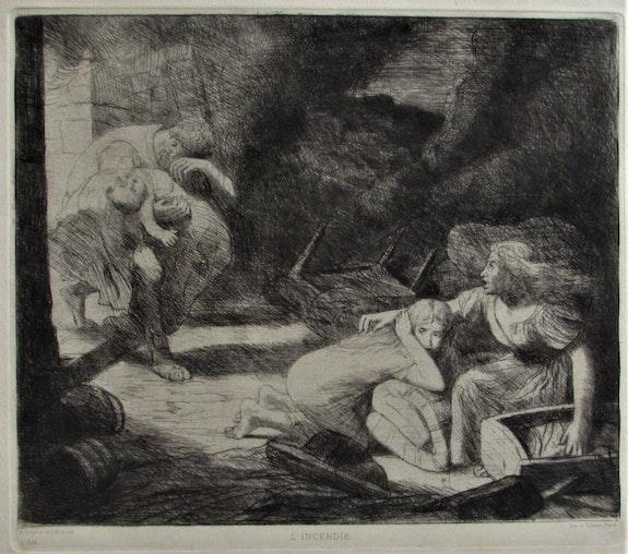 Alphonse legros, (1837-1911) : «L'Incendie». Alphonse Legros, (1837-1911). Historien d'art, Archéologue; Chercheur Free-L.