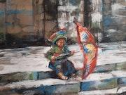 Série vietnam : Enfant assis sur les marches. Michèle Trotel