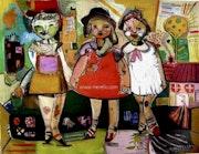 The three friends (114 X 146 cm) Mixed technique on canvas. Jose Manuel Merello