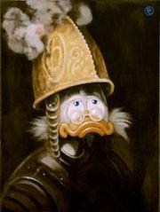 Gold helmet.