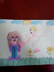Muchacha con un angel. Jenny Carolina Herrera Jimenez