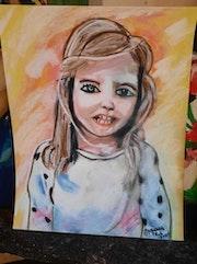 Portrait fille au pastel sec. Jean-Louis Majerus