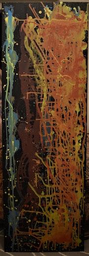 Fill et couleurs peinture abstrait, par joky kamo 2021.