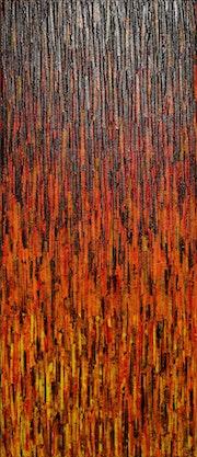Pintura contemporánea: Matrix amarillo anaranjado rojo..