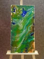 Flow abstract green gold blue orange. Marina Winberg