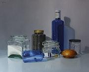 «Frascos, botella azul y aceituna». Miguel Angel Nuñez