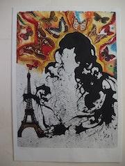 Salvador dali : Paris - Lithographie originale signée &n° #sncf - Suite Papillon.