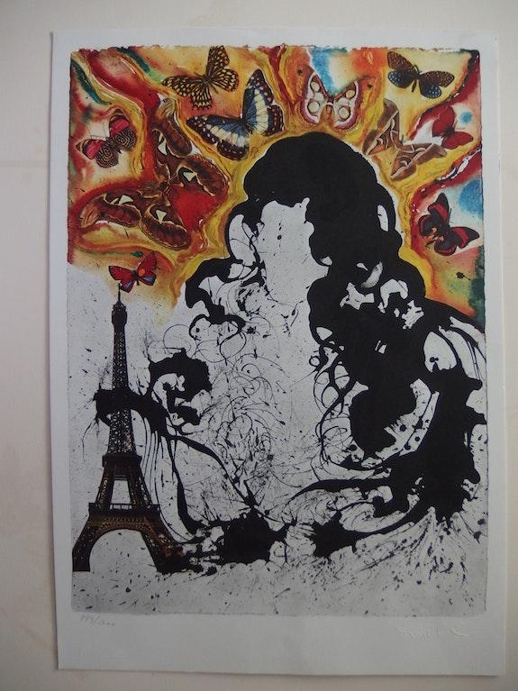 Salvador dali : Paris - Lithographie originale signée &n° #sncf - Suite Papillon.  Art Fever - Fontarabie