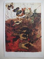 Salvador dali : Auvergne - Lithographie originale signée #sncf - Suite Papillon.