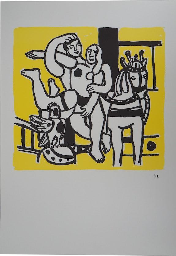 Fernand leger (d'après) - Couple amoureux et cheval - Lithographie signée.  Art Fever - Fontarabie