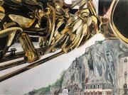 Un saxophone plane sur Dinant. Πr Dessins