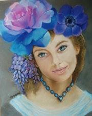 Belle et douce. Rose bleue, la jeune fille fleur.