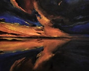Sunset in reflection of clouds and sun, by joky kamo.