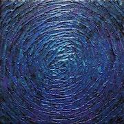Pintura contemporánea: Pequeño destello azul violeta iridiscente..