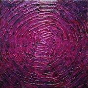 Pintura contemporánea: Pequeño destello rosa iridiscente..