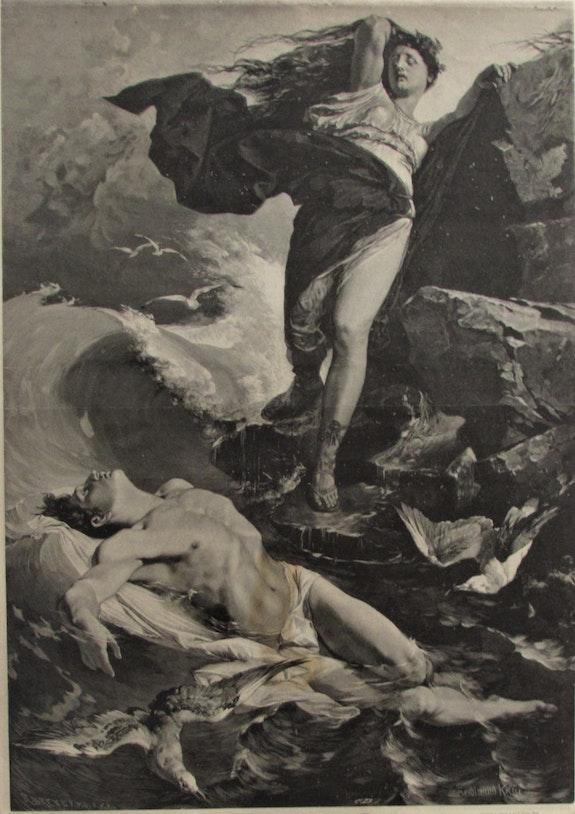 Héro & Léandre par «c. D. », Keller (1842-1922) d'après Brend'Amour (1831-1915).. Ferdinand Keller (1842-1922) d'après Richard Brend'amour (1831-1915), Par «C. D. » Historien d'art, Archéologue; Chercheur Free-L.