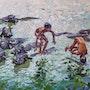 Niños jugando con búfalos. Leopoldo G. Andrades
