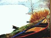 Un jour d'hiver sur l'étang. Jean Paul Gahinet