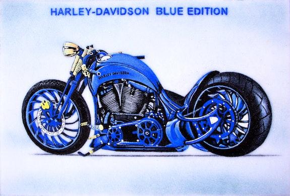 Harley Davidson Blue Edition made of sapphires and lapis lazuli. Huong Manh Didi