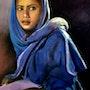 La jeune femme en bleue. Elizabeth Estienne