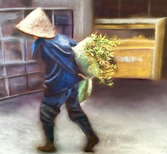 Chinoise portant une brassée de plantes. Elizabeth Estienne