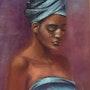 Jeune femme au turban bleu. Elizabeth Estienne