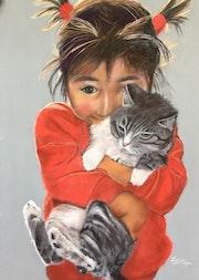 La petite fille et son chzt. Elizabeth Estienne