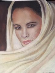 Jeune iranienne en blanc. Elizabeth Estienne