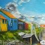 The colorful fishing huts. Vivie