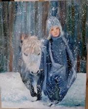 Promenade hivernale d'une petite fille. Atelier Chartres De Bretagne